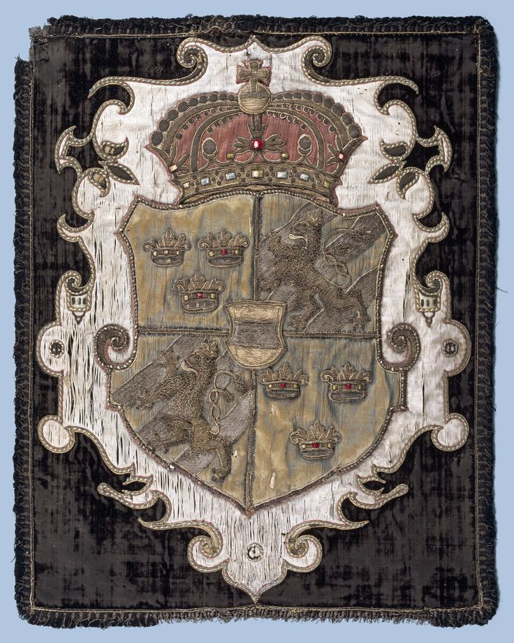 Funerary armorial banner for Constance of Austria, as Queen of Poland - 1 and 4 for Sweden, 2 and 3 for Poland, Austria in pretense