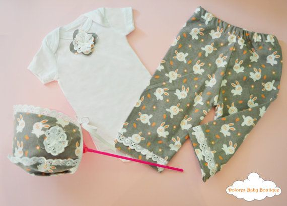 Baby Set Cotton Pants Baby Headband Cotton by DoloresBabyBoutique