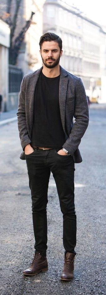 Fall outfit inspiration with a gray blazer black shirt brown belt black trousers brown boots watch. model unknown. #fallfashion #falloutfits #menswear #menstyle #mensapparel #blazer #boots #mensfashion