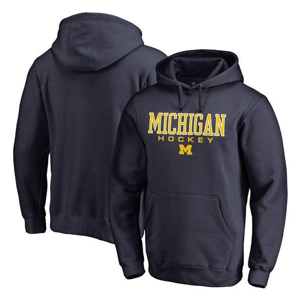 Michigan Wolverines Fanatics Branded True Sport Hockey Pullover Hoodie - Navy - $44.99