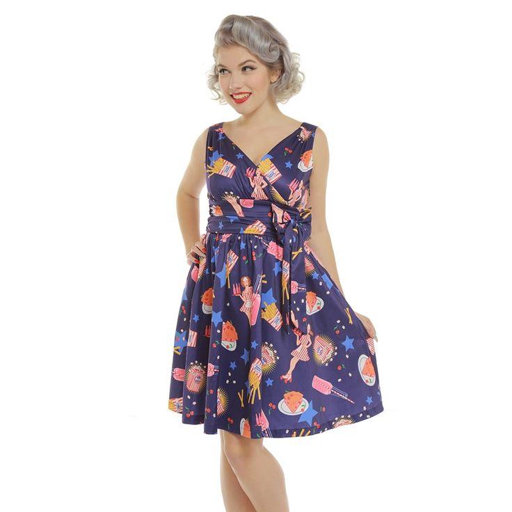 'Harper' Purple Pop Diner Print Swing Dress