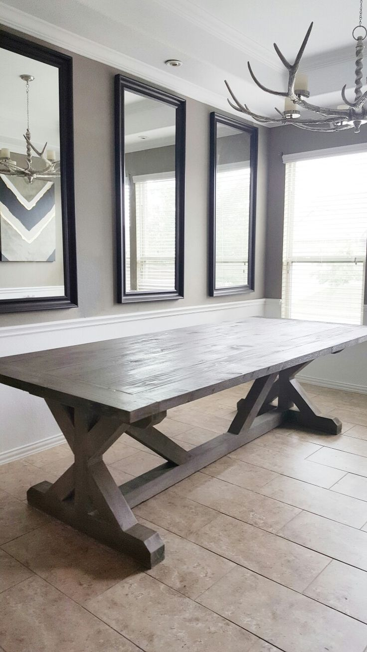 Dining Room With Diy Rustic Farmhouse Table And Antler Chandelier Indigo Interiorsetsy