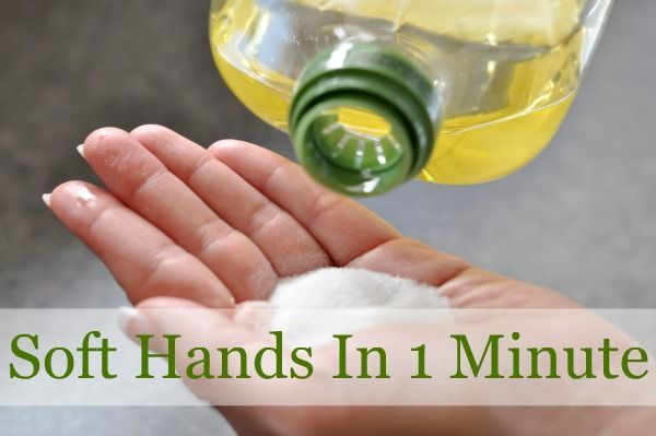 Olive Oil Sugar Scrub - or feet! -- I just tried this with Coconut Oil and it's amazing!  I work part-time in a cafe and the harsh dish detergent and hand soaps strip my hands of every ounce of oil to the point that my cuticles pull away from my nails.  This fixed that in one go.  LOVE!!  Might have to try it all over as a remedy for ALL my dry skin.  ^_^