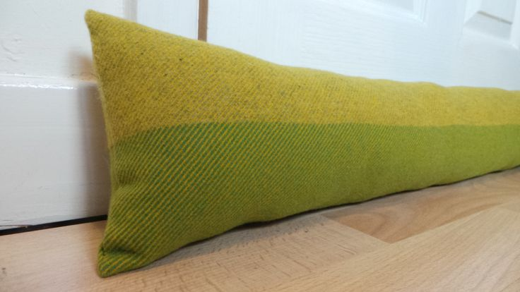 100cm long Lime Green and Golden Green Door draught excluder Woven wool fabric by Abraham Moon Handmade Filled by CowlingCountryCrafts on Etsy
