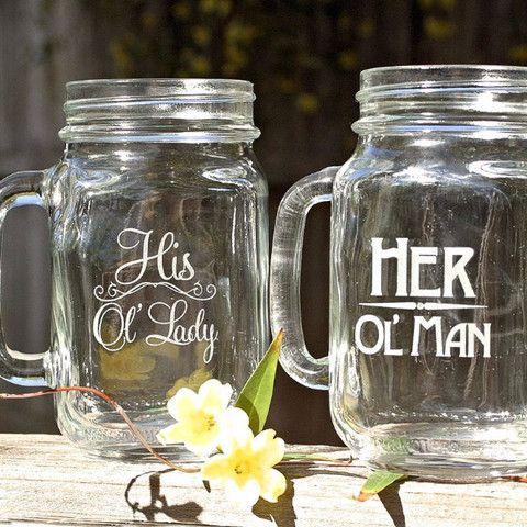 Old Man Old Lady Gift Set of 2 Masons Jar Mugs. Couples Gift forAnniversaries.Your glasses are dishwasher safe and require no maintenance to preserve the etchi