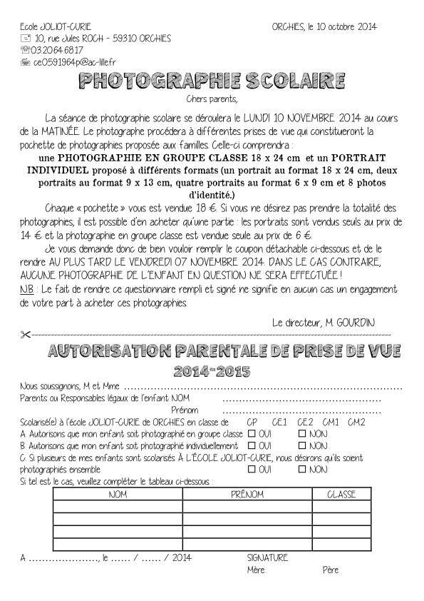 Voici les documents et formulaires administratifs pour l'année scolaire 2014/2015. A) Note de rentrée B) Fiche de renseignements C) Fiche d'urgence D) Autorisation de droit à l'image E) Calendrier scolaire F) Horaires de l'école G) Autorisation de prise...