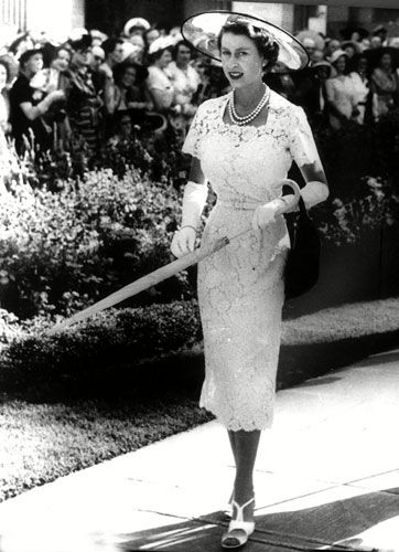 Credit: News Ltd/Newspix/Rex Features 1954: Possibly the most glamorous outfit ever worn by HM, on tour in Australia