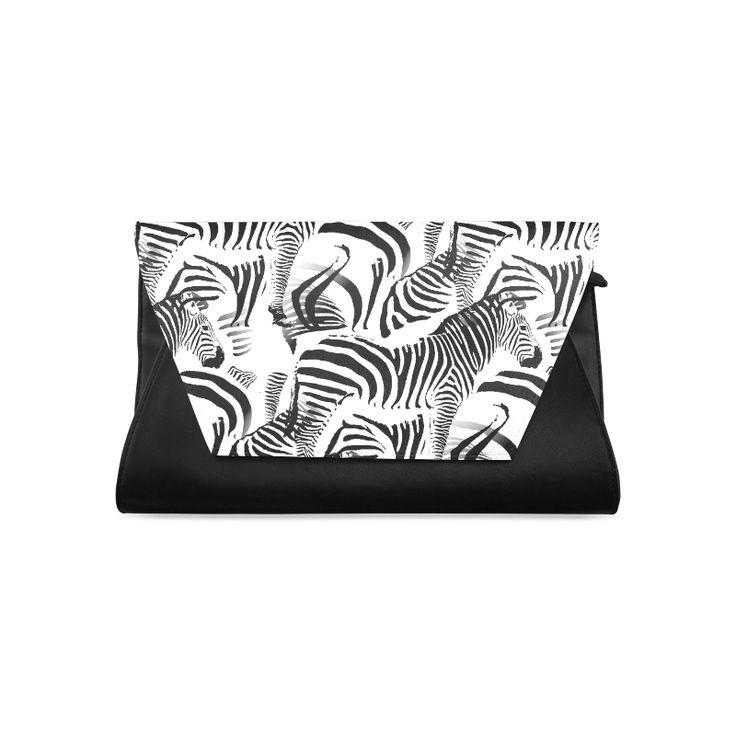 Black & White Stripes Clutch Bag (Model 1630)