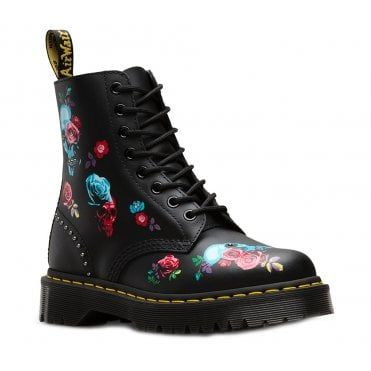 3fd89a62e705 Dr Martens 1460 Pascal Bex Rose Womens 8-Eyelet Leather Boots - Black Multi