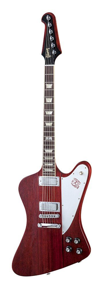 Gibson USA DSF14HCCH1 Firebird 2014 Solid-Body Electric Guitar - Heritage Cherry. The current Gibson Firebird has the traditional all Mahogany wings with a 9-ply multi laminated neck through mahogany/walnut neck. The Fingerboard is Rosewood with Trapezoid inlays with undercut fret over binding and the 120th anniversary banner at the 12th fret. Hardware is chrome and it has the Tune-O-Matic bridge and Stop Bar tailpiece. Guitar ships with Steinberger tuners and a chrome Tune-o-matic bridge.