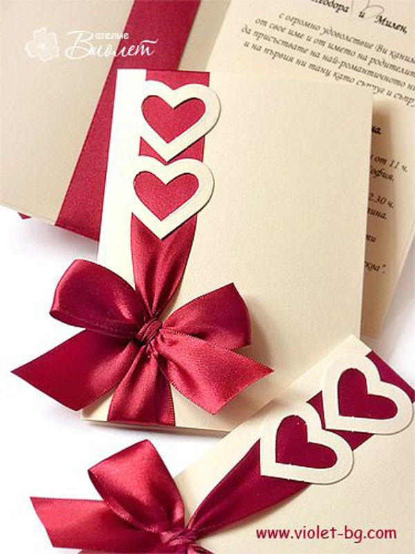creative ideas for making your own wedding invitations%0A Adorable heart wedding invites with a red ribbon  We love this