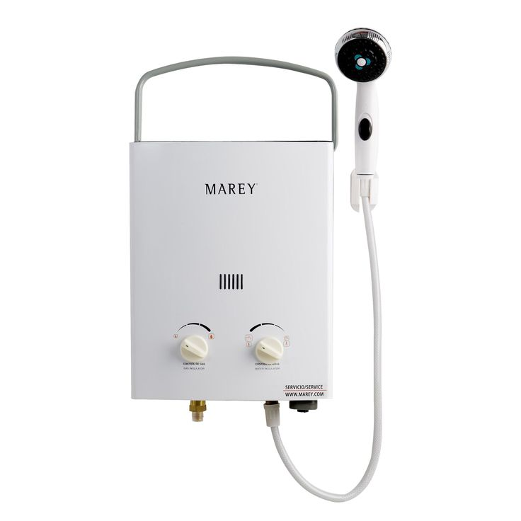 Marey Power Mini Portable Tankless Water Heater (Tankless Water Heater), White (Aluminum)