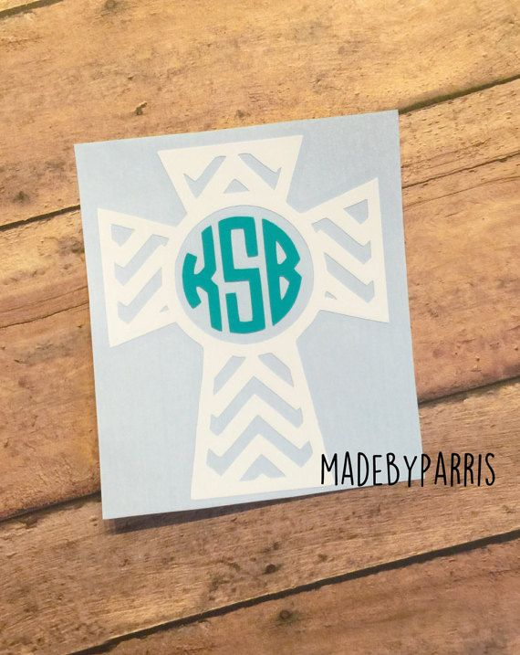 Chevron cross circle monogram vinyl decal monogram by madebyparris