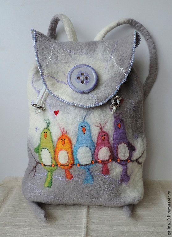 Wolle-Rucksack mit Vögel Felted Rucksack von MarusyaKacharizkina