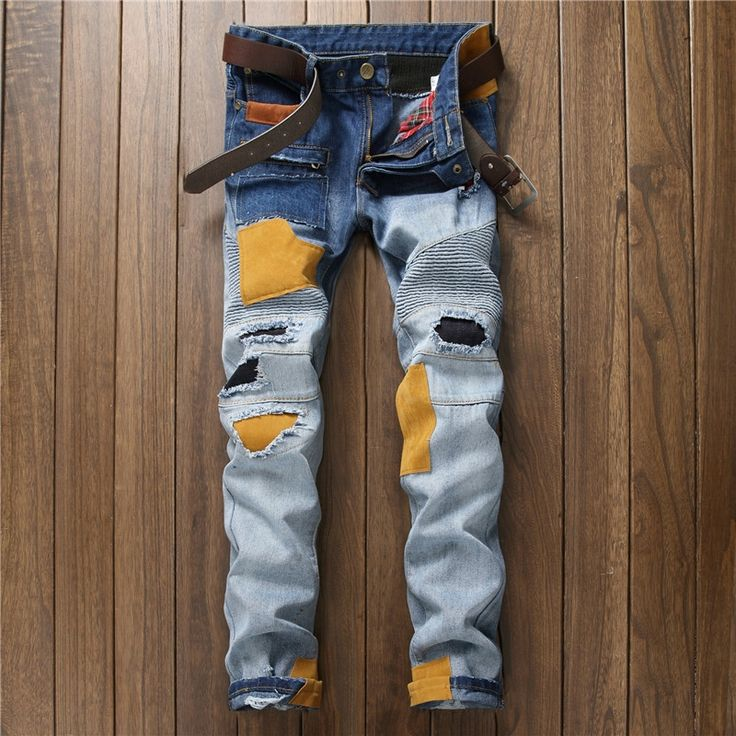 32.39$  Buy here - http://aliso9.shopchina.info/1/go.php?t=32796030305 - NEW Distressed Patchwork Jeans Men Ripped Jeans Scratched Biker Jeans Hole Denim Straight Slim Fit Casual Casual Moto Pants  #aliexpressideas
