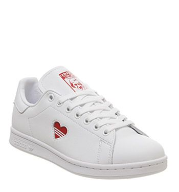 Adidas, Stan Smith Trainers, White Red Heart | Shoes in 2019