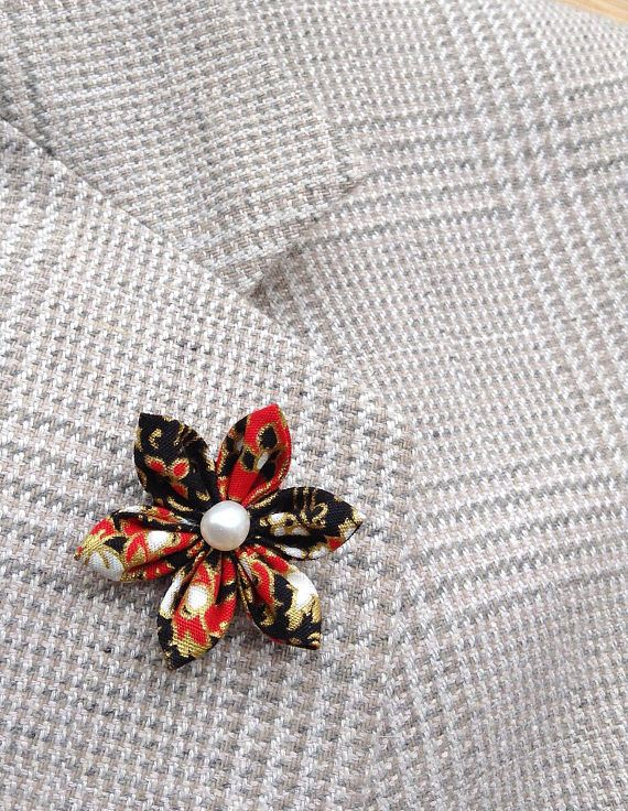 Custom Lapel Pins Mens Lapel Pin Flower Lapel Pin Red Black
