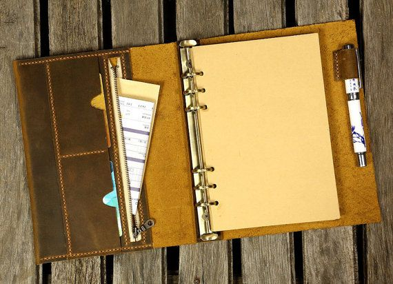 Gepersonaliseerde A5 lederen laptop planner / Refillable refill dagboek reisportefeuilles notebook / leder ringband Portfolio kaft NBA505B