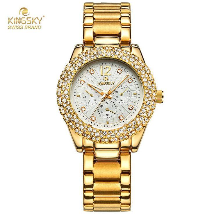 2016 Kingsky Luxury Rhinestone Ladies Quartz Watch