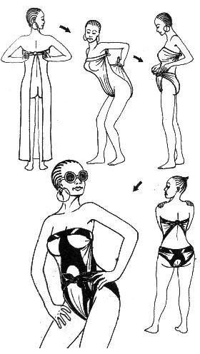 """Pareos. O sarong é um grande retângulo de tecido que é enrolado em volta da cintura para enfrentar o sol. Em um tecido fluido e leve, corte um retângulo de 1,15 m por 2 m. Faça uma dupla dobra nas bordas externas e costure. Swimwear: Passe o sarong na frente de você e amarrar as duas pontas na parte de trás. Retire a panela do da frente entre as pernas e enrole o tecido para obter uma """"corda"""" que você traz para a frente. Amarre as pontas na frente."""