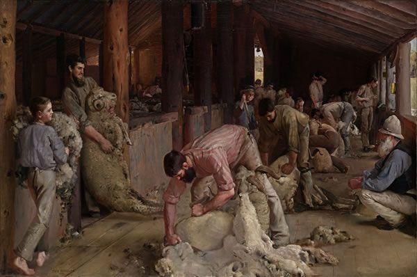 Tom Roberts, Shearing the rams 1890