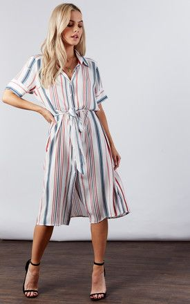 fdc52d485610 Ivory Coral Navy Midi Striped Shirt Dress By If By Sea