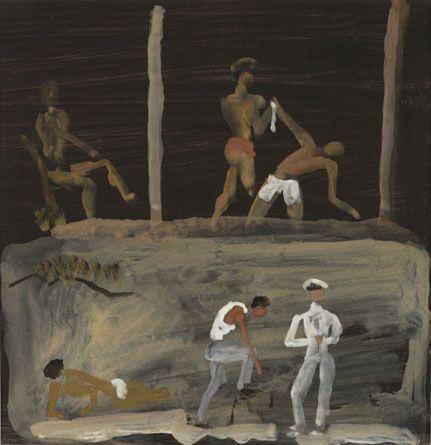 Tsamikos dance on the shore, 1978 (Gouache on paper)