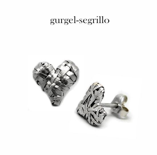 'woven heart' - silver stud earrings by Gurgel-Segrillo