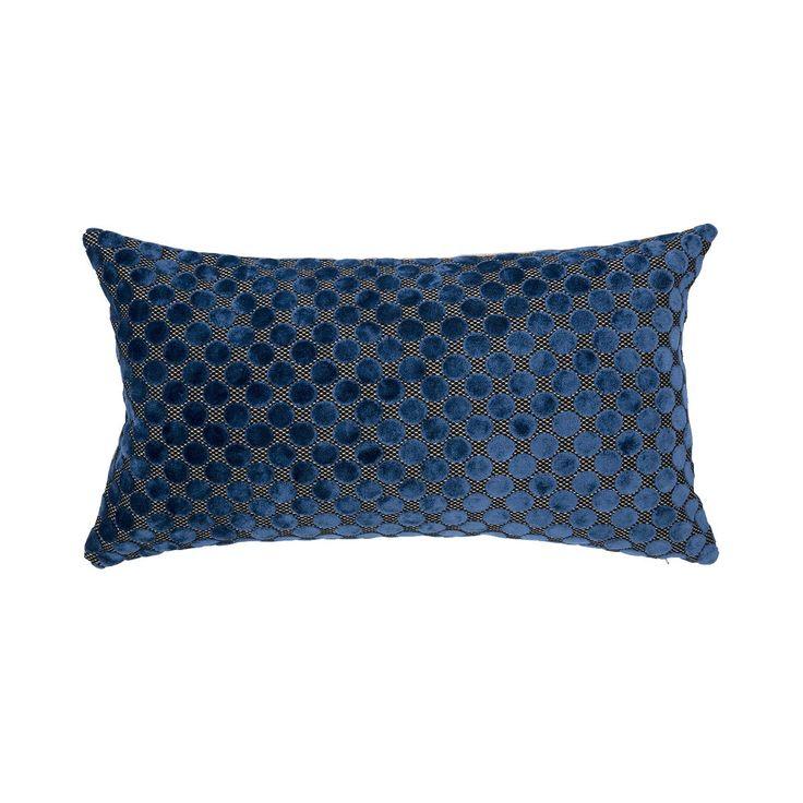 Midica Art Déco   Coussin rectangulaire, velours bleu et fil doré