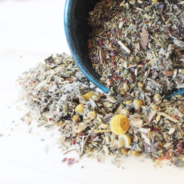 A combination of Chamomile, Comfrey, Peppermint, Red Raspberry, Yarrow, & Rose Hip makes up this comforting blend. It's the perfect relief for fighting off that cold, and helps support your immune system. Keep this wonderful blend of organic herbs on hand for helping that flu fly far, far away!