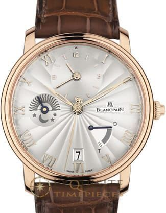 Blancpain Villeret Demi-fuseau Horaire Demi-savonette 6665-3642-55B.Blancpains most classic collection. The pure lines are a return to the authentic values of traditional watchmaking.