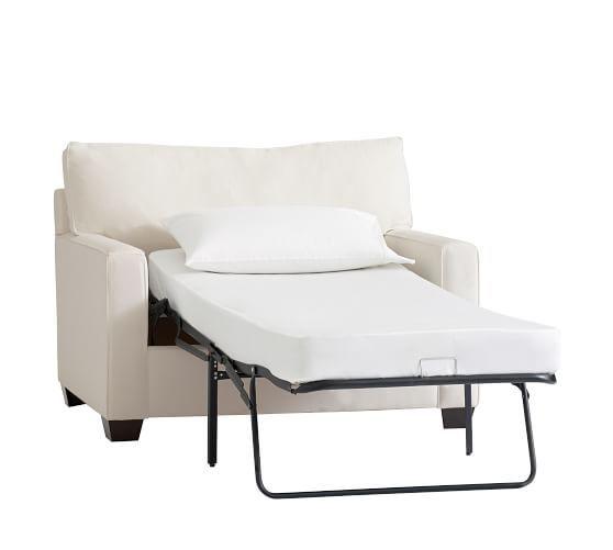 Buchanan square arm upholstered twin sleeper sofa for Buchanan chaise sofa from pottery barn