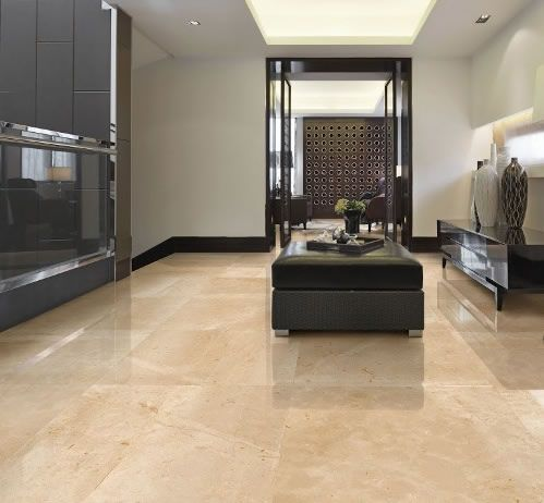 Polished porcelain floor tiles Sydney. Replica limestone tiles from leading Spanish manufacturer Peronda.  On display at Kalafrana Ceramics Sydney.
