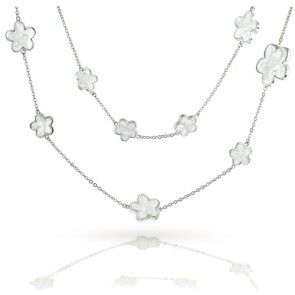 Lauren G Adams Silver White Mother of Pearl Style 5 Leaf Clover Flower Necklace 42in