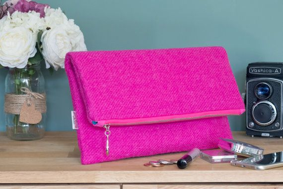 Harris Tweed Fold-over zipped large clutch bag by HandbagsandHome