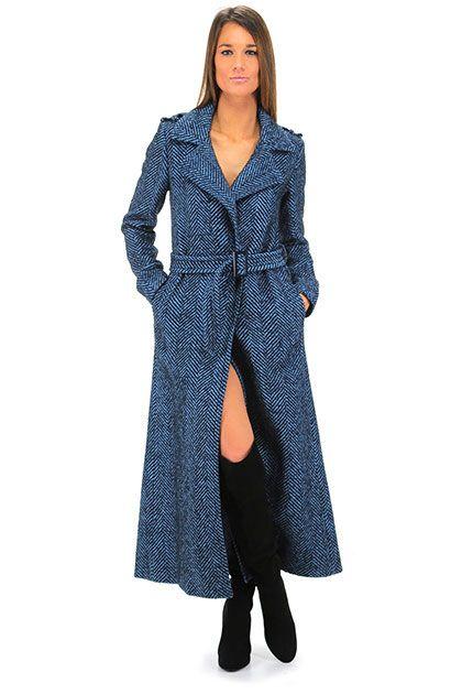 Twin Set Jeans - Cappotti - Abbigliamento - Cappotto con trama a lisca di pesce…