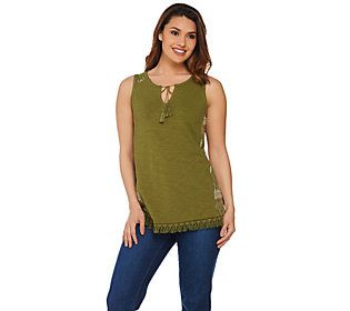 C. Wonder Sleeveless Knit Top with Embroidered Side Panels
