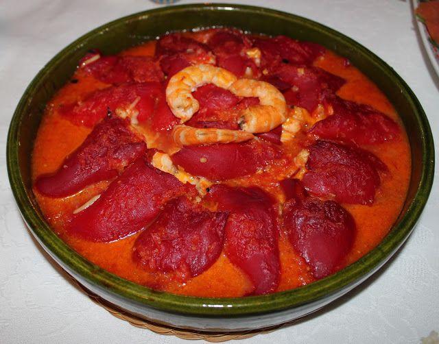 Cocinar es vivir y Bordar también: Pimientos rellenos de langostinos a los tres quesos / 3 cheese prawn stuffed peppers