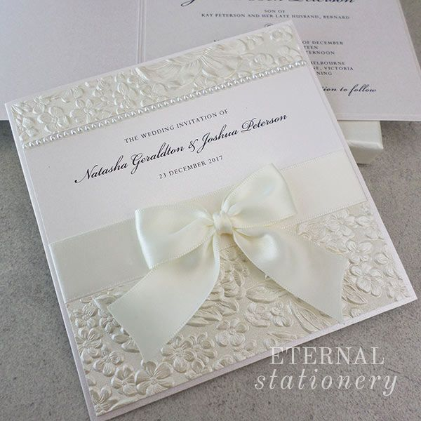 Embossed Wedding Invitation Created By Eternal Stationery Www Eternalstationery Au
