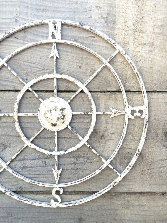 Nautical Compass, White Wall Art, Shabby Chic Nautical Decor, Metal Compass Wall Art, White Wall Art