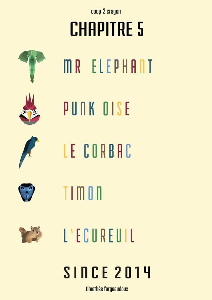 // Chapitre 5 //  #elephant #elefant #punk #punkoise #corbeau #crow #timon #suricate #meerkat #écureuil #squirrel #animal #animals #animaux #graphisme #vectoriel