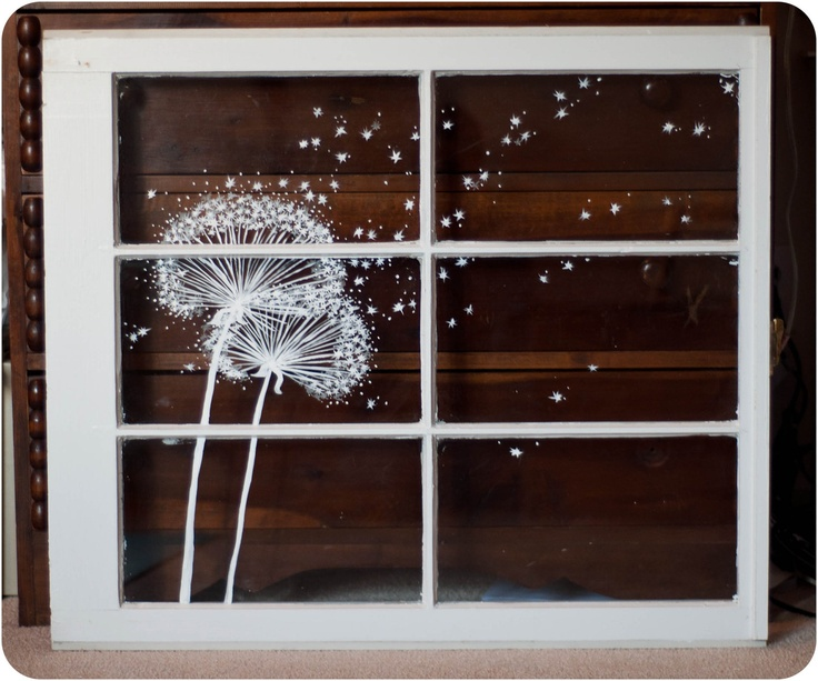 dandelion window painting. or you could use vinyl.