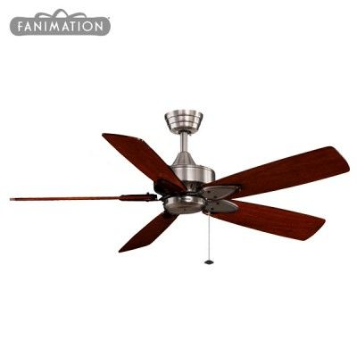 Fanimation Windpointe Ceiling Fan - Pewter with Reversible Teak/Mahogany Blades 52""