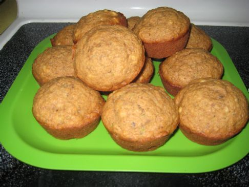 Harvest Blend Muffins Recipe using a cup of fruit pulp, whole wheat flour, and honey as the added sweetener.