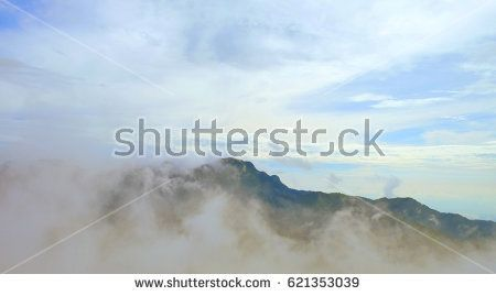 Summer colorful nature landscape and amazing sky with clouds at the top of hills