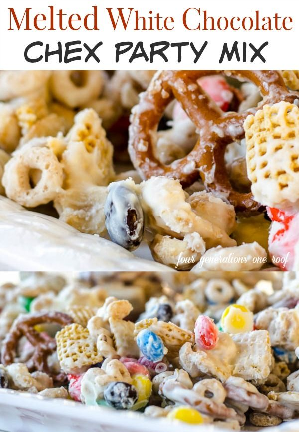 Delicious melted white chocolate chex party mix  5 minute easy recipe