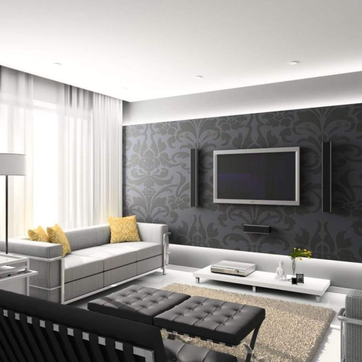 Grey Wallpaper Living Room Ideas