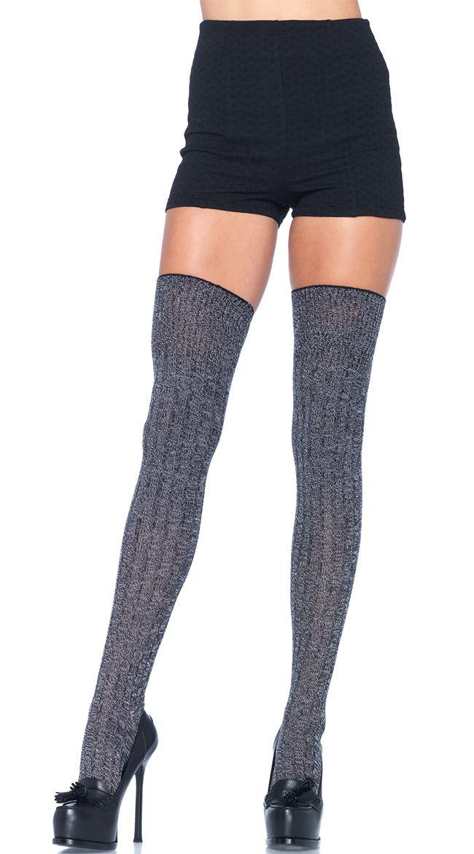 Grey Good Girl Thigh High Stockings