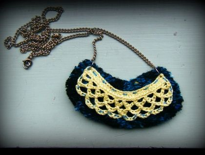 Lace and wool necklace Handmade, recycled wool and reclaimed chain  https://cherryberry.felt.co.nz