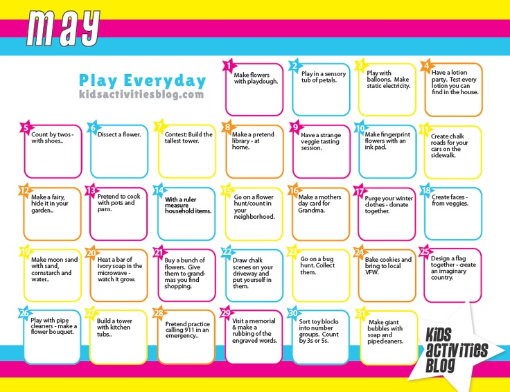 Calendar Ideas For Ks : Calendar each day activities and fine motor